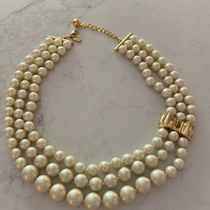 Kate Spade Triple Strand Pearl Statement Necklace